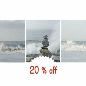 3 piece set of Vertical Ocean Wall Art | Nautical Art Decor | Neutral Wall Art