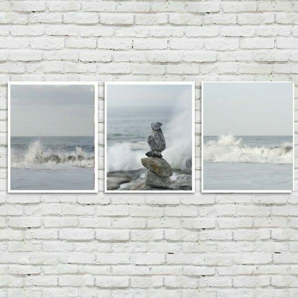 3 Piece Set Vertical Ocean Wall Art   Nautical Art Decor   Neutral Wall Art