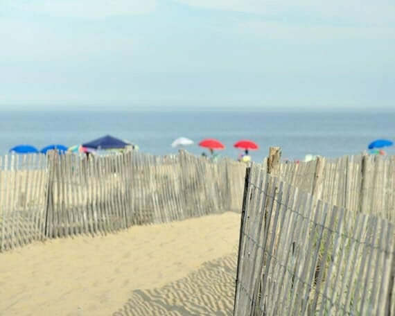 Beach Fence with colorful Umbrellas Wall Art | Coastal Art Decor | Bathroom Wall Art