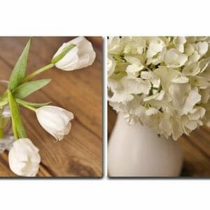 2 Piece Shabby Chic Floral Canvas Wall Art