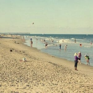 Crowded Beach Scene Wall Art | Nautical Art Decor | Virginia Beach Wall Art