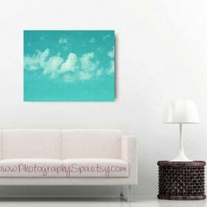 Sky & Clouds Wall Art | Aqua Mint White | Nursery Room Wall Decor