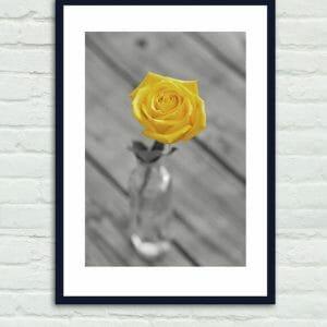 Bathroom Wall Decor | Yellow Gray | Floral Still Life Wall Decor