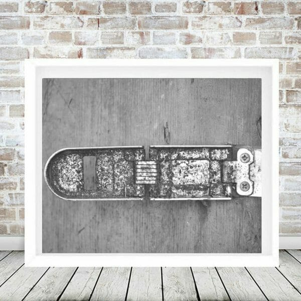 Farmhouse Photography   Country Vintage Wall Art    Barn Latch in Black and White