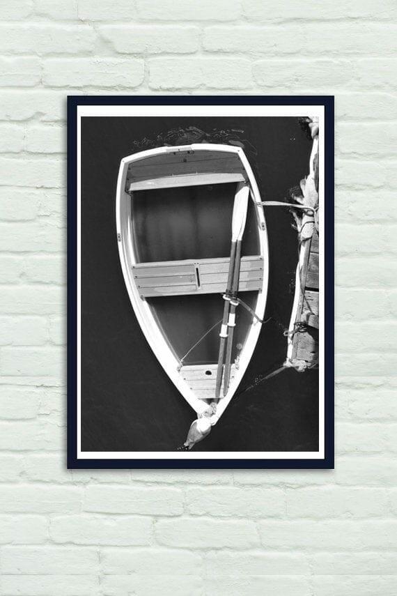 Rowboat Photography | Large Vertical Black White Decor | Canoe Art